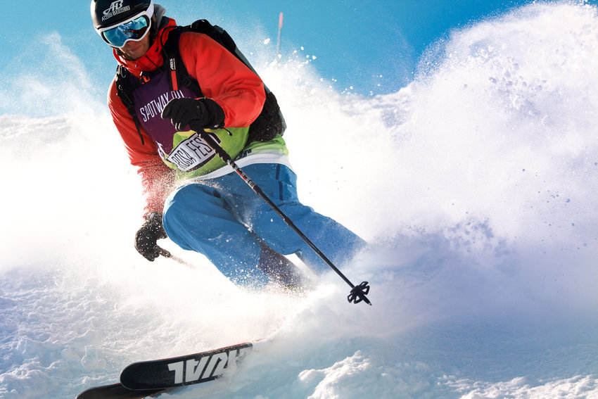 ski in powder day rosafest